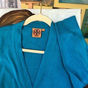 Tory Burch cardigan in deep blue.